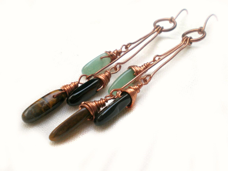 chandelier earrings - long,bohemian - wirewrapped, green,black,organic