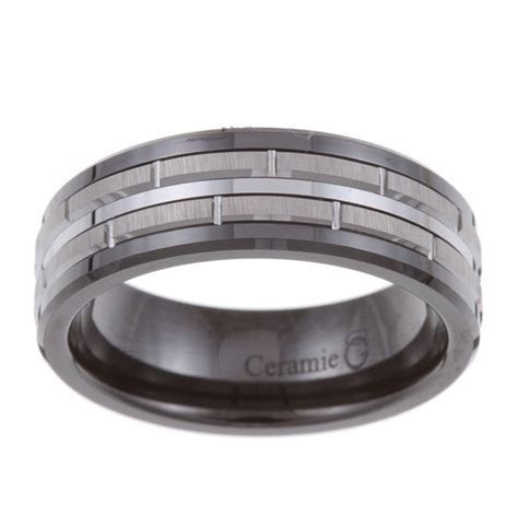 Men's Tungsten Black Ceramic and Band (7.5 mm)   Free