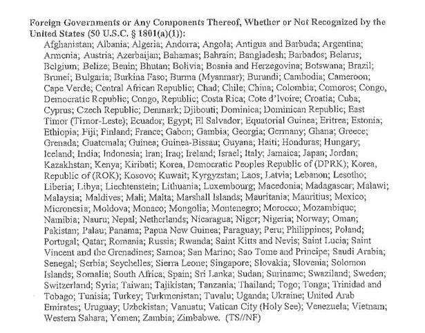 قائمة بالدول التي تستهدفها وكالة الأمن القومي وكالة الأمن القومي تتجسس على العالم .. عدا أربع دول!