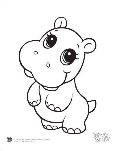 learning friends hippo baby animal coloring printable