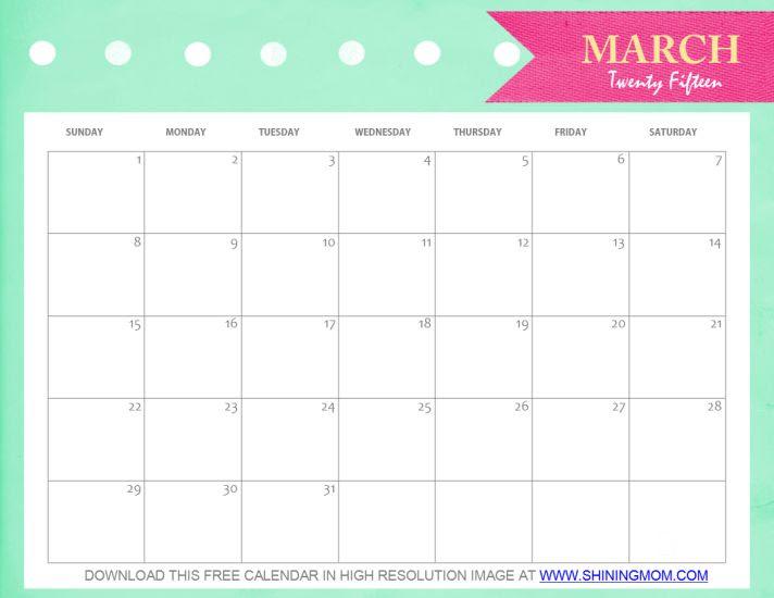 March Calendar 2017 Pretty – 2017 March Calendar
