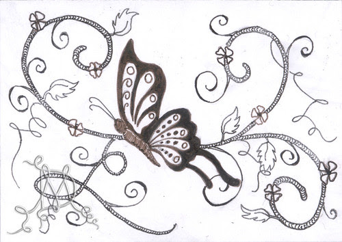 ACEO Vintage Butterfly by Cre8iveDoodles ~ Has been ill...Back Soon!