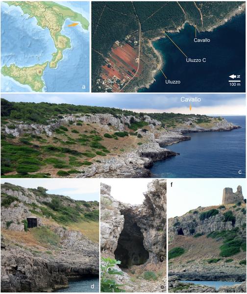 Figura 2. Grotta del Cavallo y los sitios Uluzzo Bay.