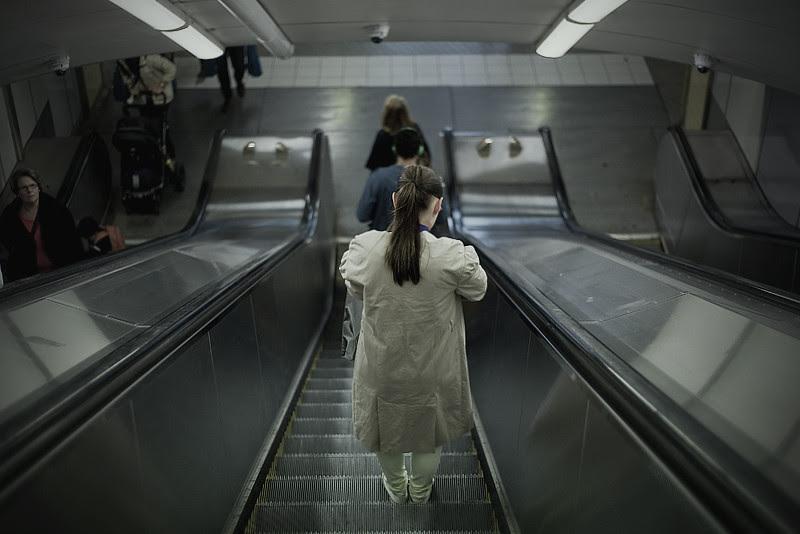 Girl in escalator