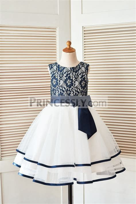 Navy Blue Gold Lace Ivory Tulle Layered Flower Girl Dress