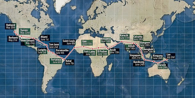 Route: Earhart was trying to become the first woman to fly around the world - starting in Oakland on May 20