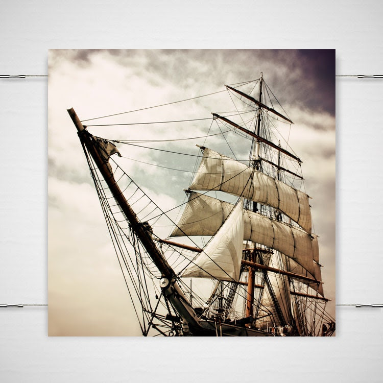 Peter Pan Pirate Ship Photograph Pirates' Life For Me 5x5 Fantasy fairy tale nursery children's room halloween sinister gothic wall art