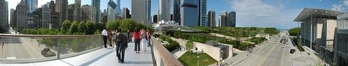 Chicago Panorama: Millenium Park, Nichols Bridgeway and Lurie Garden