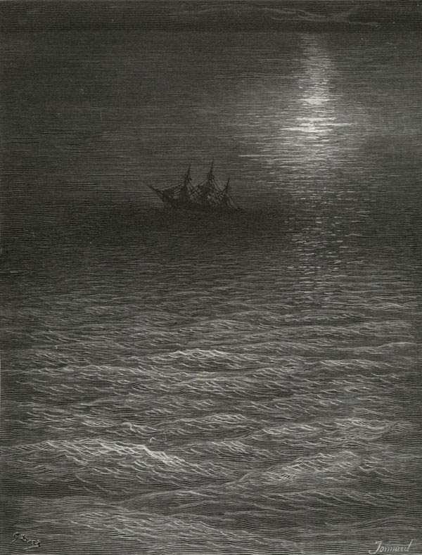 The moving Moon went up the sky - from The Rime of the Ancient Mariner - by Gustave Dore (Jonnard, engraver)