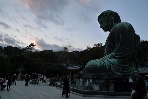 Great Buddha of Kamakura as the sun is setting