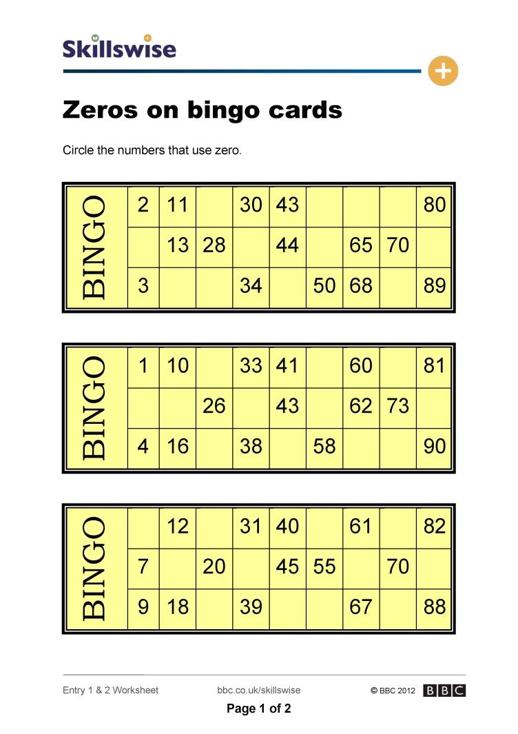 Zeros on bingo cards