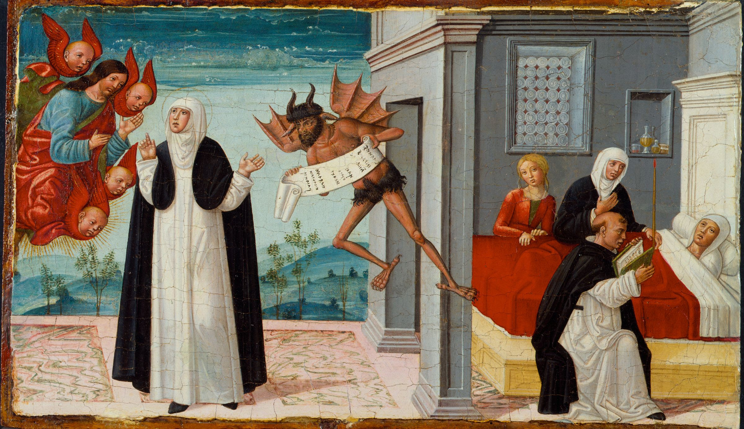 Saint Catherine Of Siena Intercedes With Christ To Release The Dying Sister Palmerina From Her Pact With The Devil