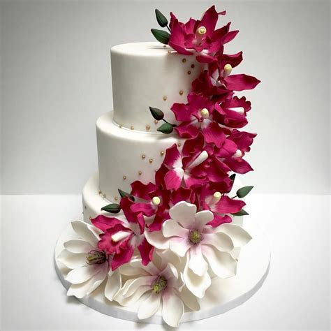 3 Tier Cake with Orchid Flowers   Sri Lanka Online