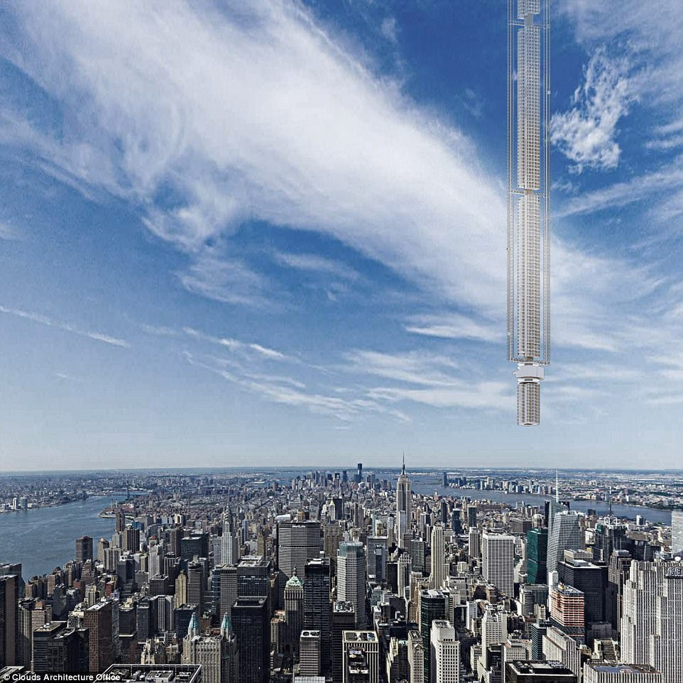 The orbital path would swing the tower in a figure eight pattern between the northern and southern hemispheres each day, taking residents on a tour through different parts of the work, including New York City (pictured) - all in just a 24 hour orbital cycle.