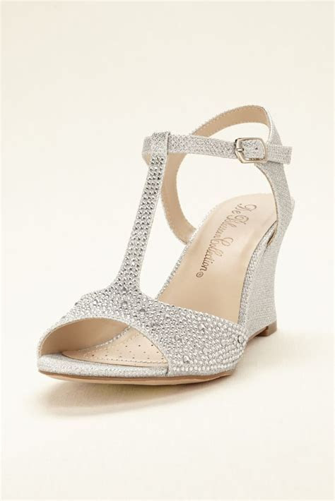 Glitter T Strap Wedge Wedding & Bridesmaid Sandal   Silver