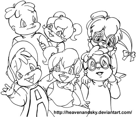 Alvin And The Chipmunks And The Chipettes Coloring Page Free
