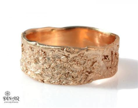 18k Rustic Wedding Band, 14k Rose Gold Wedding Ring, Wide