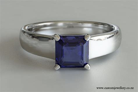 Square Emerald Tanzanite Solitaire Engagement Ring New Zealand