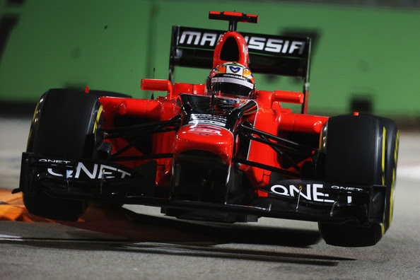Timo Glock Timo Glock of Germany and Marussia drives during practice for the Singapore Formula One Grand Prix at the Marina Bay Street Circuit on September 21, 2012 in Singapore, Singapore.