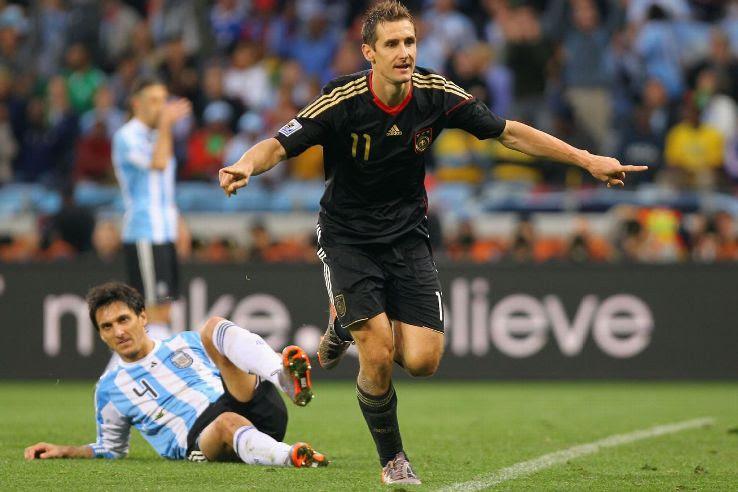 The evergreen Miroslav Klose scored twice against Argentina.