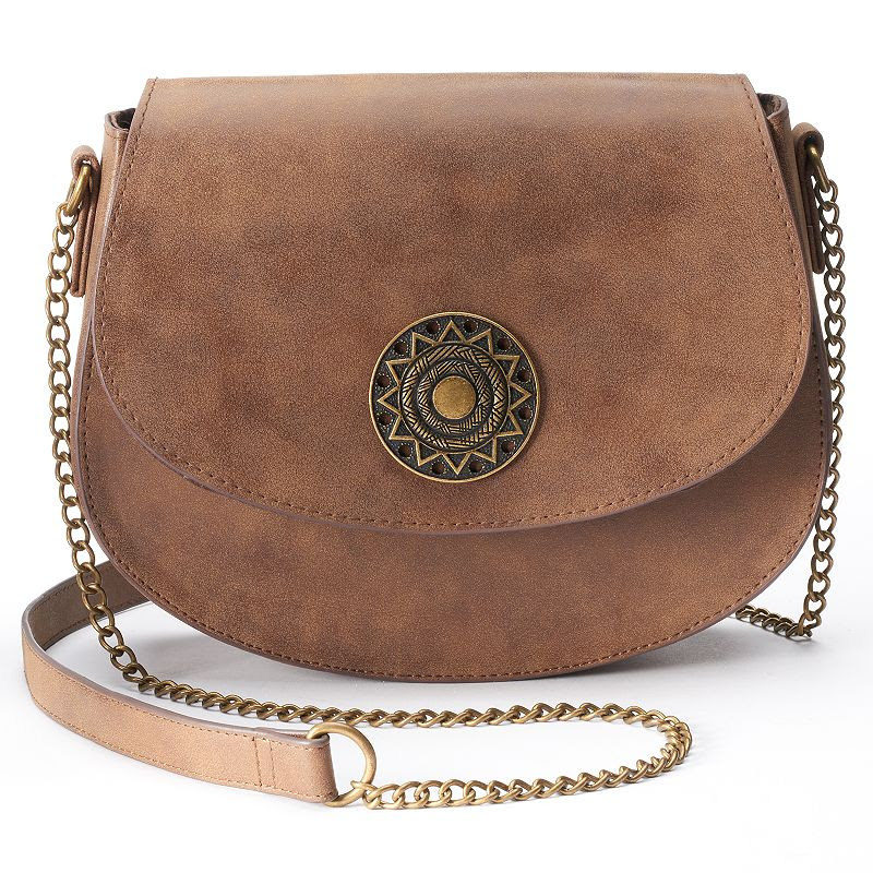 T-Shirt & Jeans Saddle Medallion Crossbody Bag, Women's, Brown