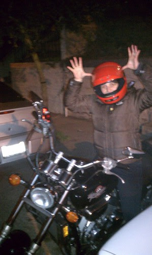 fat people on motorcycles. People ride motorcycles
