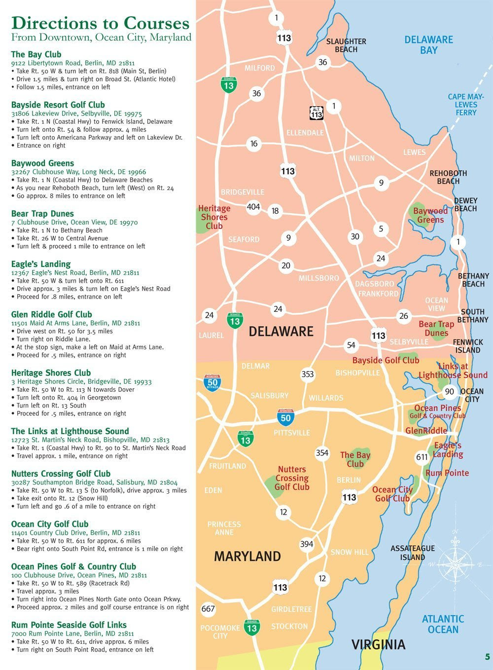 Golf Courses Map Ocean City Golf Getaway Md Eastern Shore
