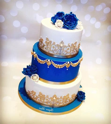 Wedding Cakes Royal Blue And Gold   Wedding Dress   Ivory