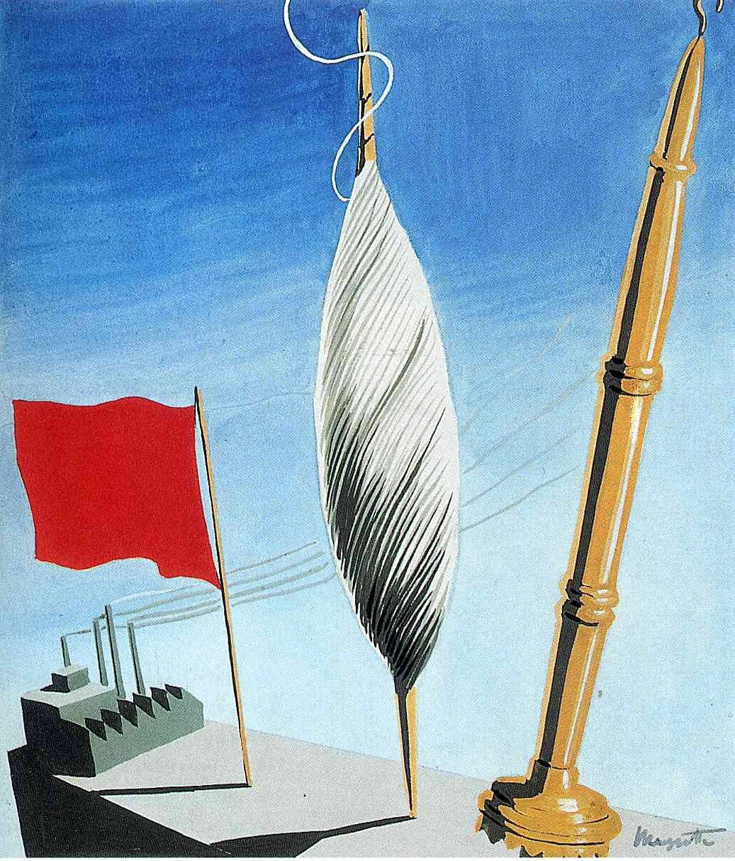 "Project of poster ""The center of textile workers in Belgium"", 1938 Rene Magritte"