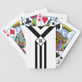 Black Stripes and Chevrons with Monogram on White Bicycle Playing Cards