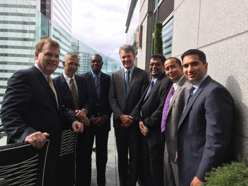 From left John Baird from Bennett Jones Law Firm, Minister Dominic Gaskin, Minister David Patterson, Abraham Drost President and CEO of Carlisle Goldfields, Vice President Khemraj Ramjattan, Andrew Ramcharran Executive Vice President of Petaquilla Minerals Ltd. and Abbas Khan of Bennett Jones Law Firm.