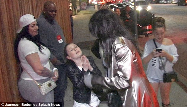 No shame: The super-fan was later seen begging Kendall Jenner for a photo outside The Nice Guy in West Hollywood