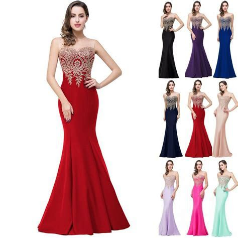 Long Applique Evening Party Dress Prom Dresses Formal