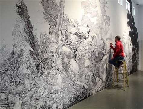 sprawling wall sized mural drawn    black