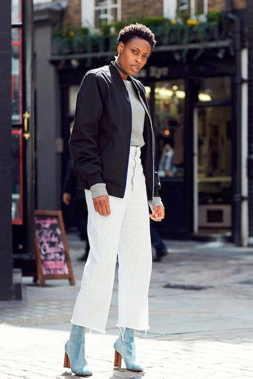 Le Fashion Blog Street Style Choker Black Bomber Jacket Grey Knit Raw Hem White Striped Pants Denim Sock Style Ankle Boots Via Elle UK