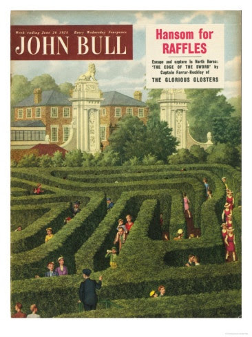 John Bull, Holiday Maze Hampton Court Tourists London Magazine, UK, 1950