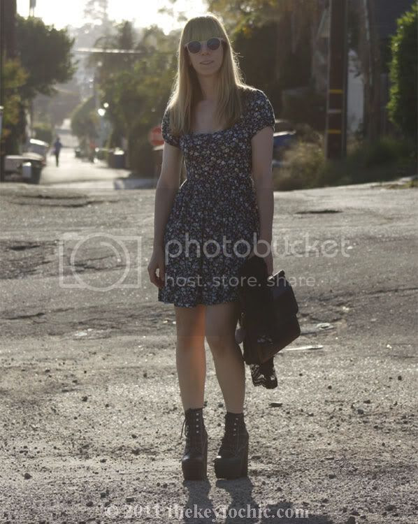 babydoll floral dress, Jeffrey Campbell Tardy boots, vintage frame handbag, California fashion blog