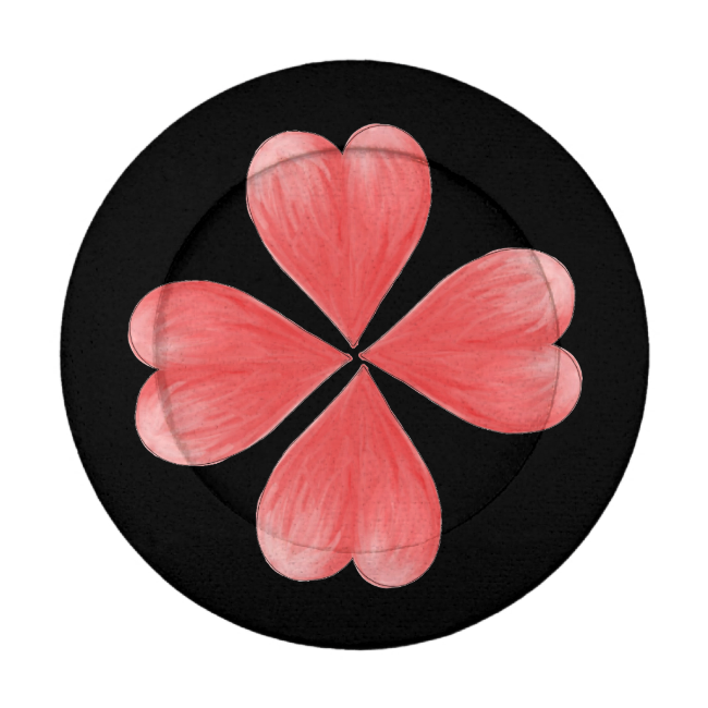 Red Watercolour Heart Flower On Black Background Pack Of Small Button Covers
