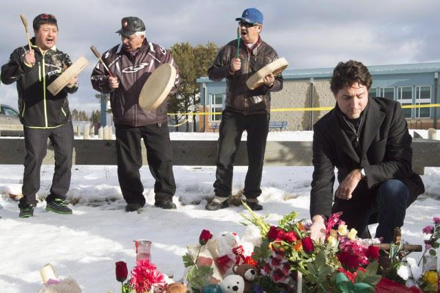 Le premier ministre Justin Trudeau a commémoré dimanche le premier anniversaire... (Photo archives La Presse Canadienne)