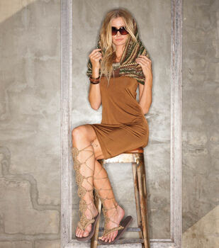 Camouflage Cowl, Macrame Gladiator Sandals, and Wrap Around Leather Bracelet