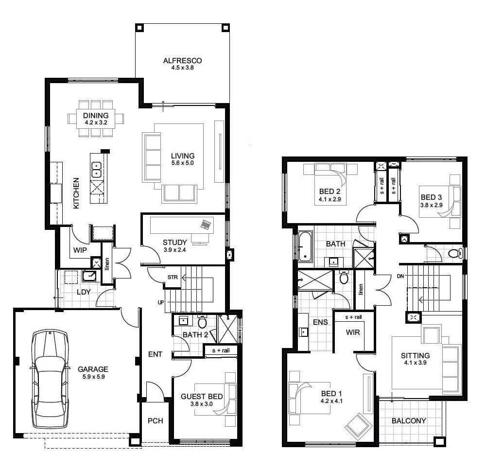 Luxury 4 Bedroom 2 Story House Floor Plans - New Home ...