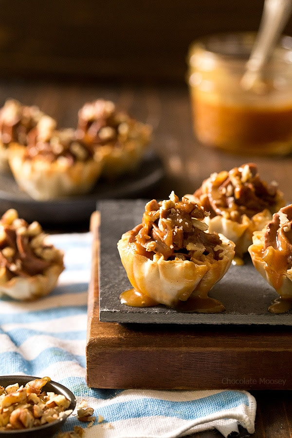 No Bake Turtle Cheesecake Phyllo Cups - Chocolate Moosey