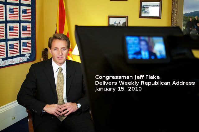 Congressman Jeff Flake gives the Weekly Republican Address  Photo Courtesy of The Republican Conference  Titles by Bobby Coggins