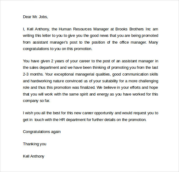 Sample Promotion Letter 8 Download Free Documents In