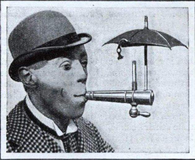 Umbrella contraption to allow smoking during the rain