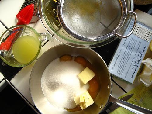 making lemon curd