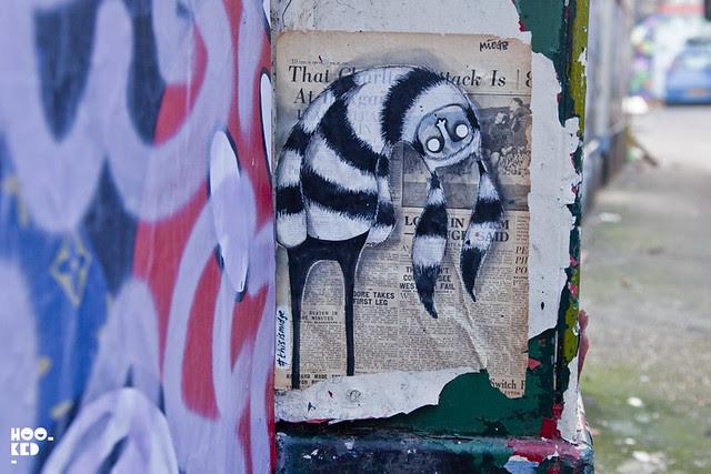 London street art paste-ups by artist Midge