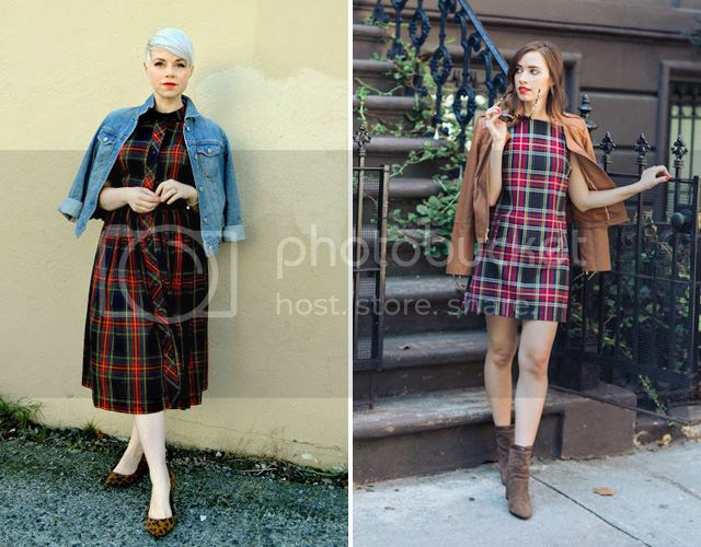 Red plaid dresses worn two ways