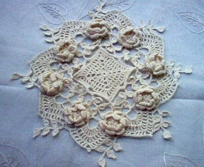 photo of a rose crochet doily