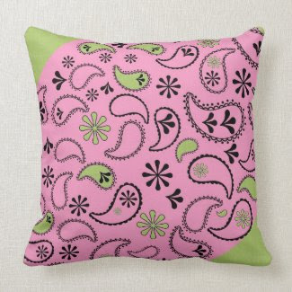 Green and Pink Paisley Pillows